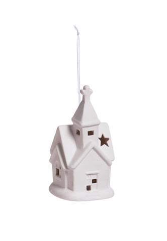 White Church Ceramic LED Ornament, 2 ASST CLEARANCE