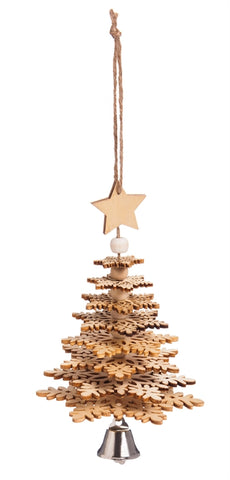 Wooden Christmas Tree 3D Snowflake Ornament