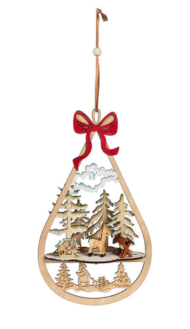 Wooden Winter Scene 3D Ornament