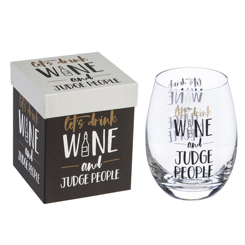 Stemless Wine Glass w/ Box, 17 OZ, Let's drink win