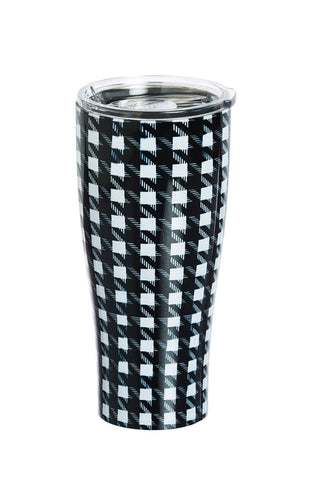 Stainless Steel Beverage Cup, 17 oz. Houndstooth