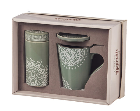 Tea Gift Set, 9 OZ., Tea Lace canister, strainer, cup