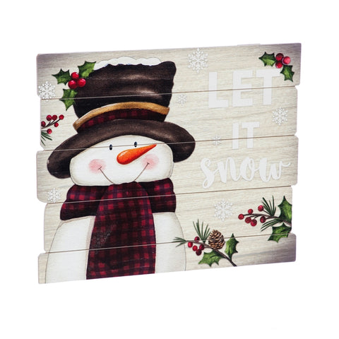 Snowman Let It Snow Wooden Wall Décor