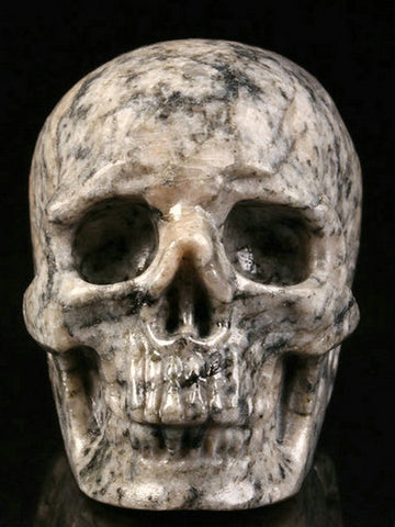 Griotte natural crystal skull - Cast a Stone