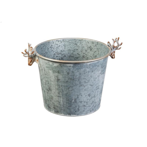 Galvanized Round Container with Deer Handles