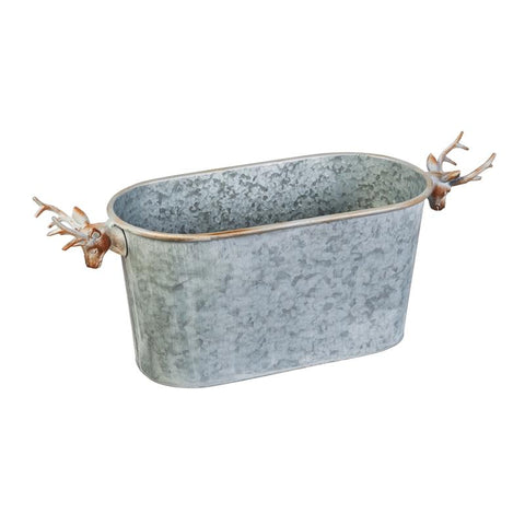 Galvanized Oval Container with Deer Handles