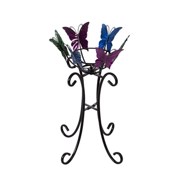 Butterflies Multi Color Gazing Ball Stand 24""