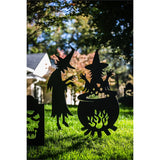 Witches around a Cauldron Laser Cut Metal Yard Sign