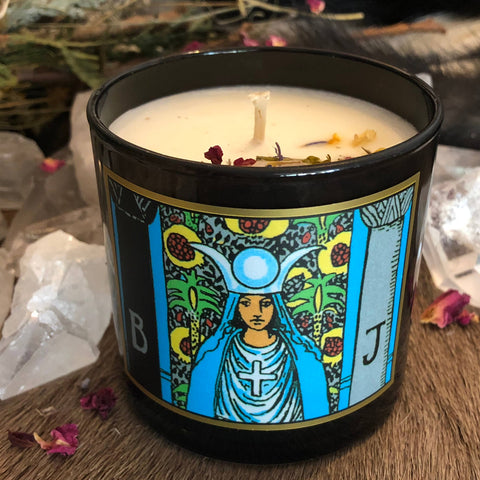 High Priestess Tarot 6oz Candle with Charged Crystal