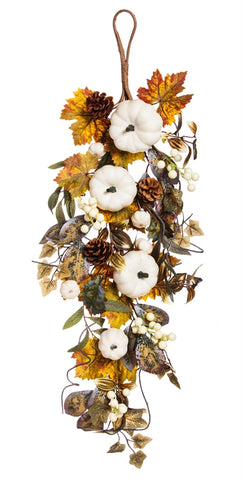 "31"" White Pumpkin Floral Wall Decor"