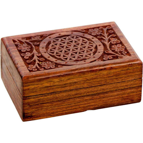 Flower of Life Wooden Box - Cast a Stone