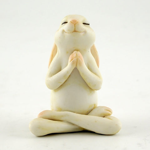 Yoga Bunny in Seated Namaste Pose Statue - Cast a Stone