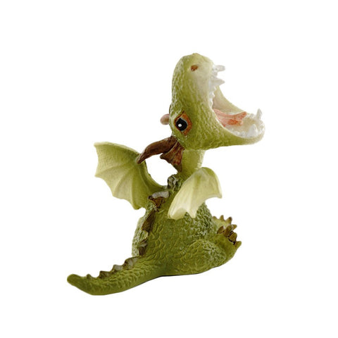 Mini Green Dragon Roaring Figurine - Cast a Stone
