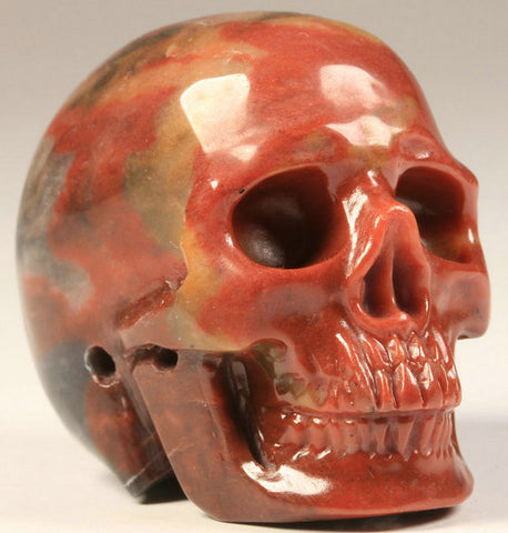 Tri-Color Jade Carved Crystal Skull
