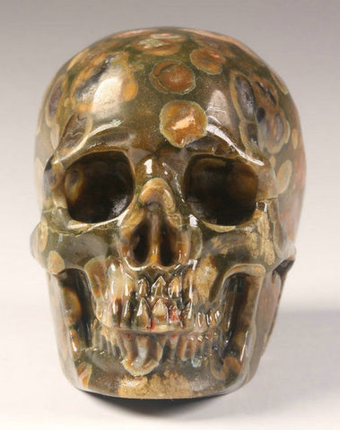 Rain Forest Jasper natural crystal skull - Cast a Stone
