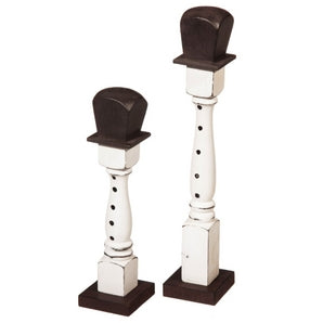 2 Piece Snowman Wood Spindle Decor