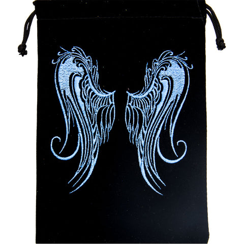 Embroidered Angel Wings Velvet Bag for Crystals, Cards and more!