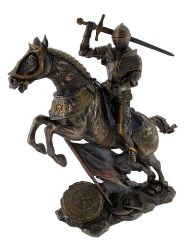 Medieval Knight on Battle Horse Statue Figure