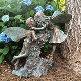 "Henry And Elizabeth Fairy Extra Large 22""h Garden Statue Bronze Patina - Cast a Stone"