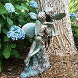 "Henry And Elizabeth Fairy Extra Large 22""h Garden Statue Bronze Patina"