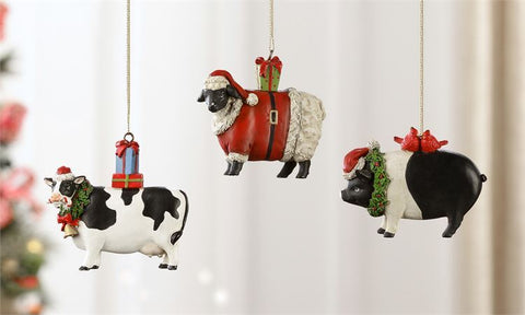 Farm Animal Ornaments, 3/Asst.