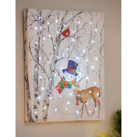 "LED Canvas Wall Décor, 16""W x 20""H, Joyful Snowman"