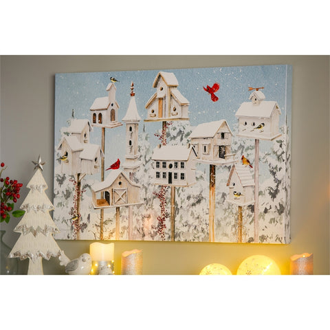 "Canvas Wall Decor, 36""W x 24""H, White Holiday Bird Houses"