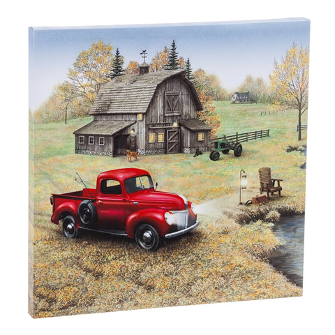 LED Canvas Wall Décor, Red Farm Truck