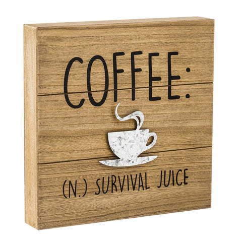 Coffee Survival Juice, 12x12 Wood Wall Décor