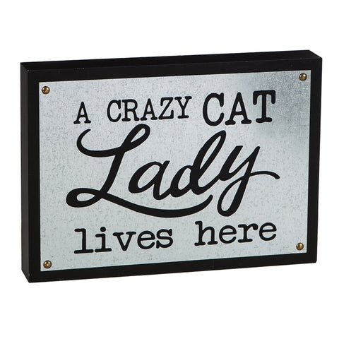 Crazy Cat Lady Wooden & Metal Sign