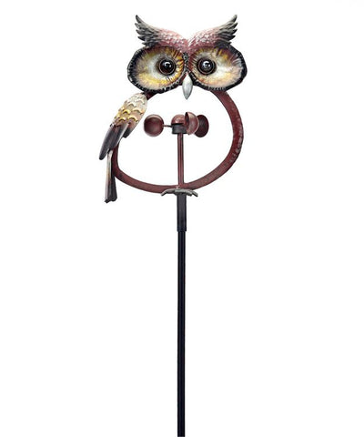 Metal Owl Kinetic Garden Stake