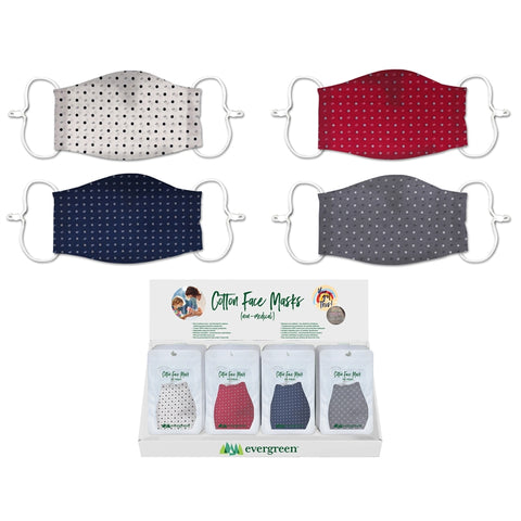 Adult 3-Layer Cotton Face Mask with Dot Pattern
