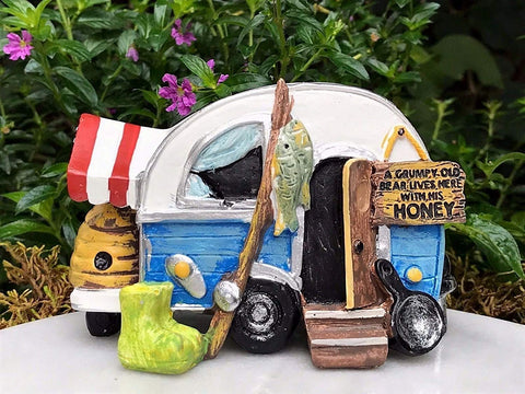 Happy Camper Miniature Camper for Fairy Gardens
