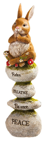Yoga Bunny rabbit on rocks Totem Statuary
