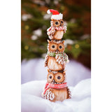 "Winter Owl Totem Ceramic Statuary 12""H"