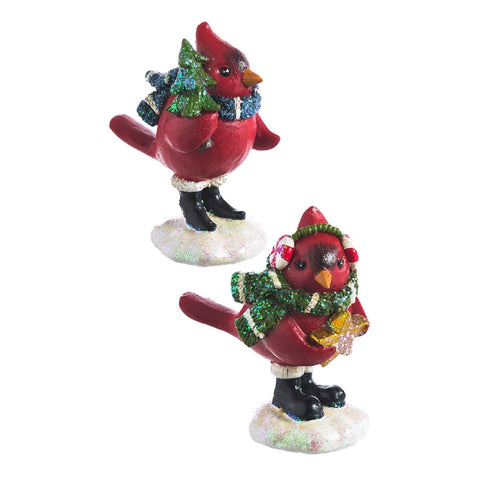 Bundled Up for Winter Cardinal Bird Décor, 2 asst