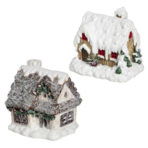 Illuminated Battery Powered Miniature Décor Seasonal House, 2 asst CLEARANCE