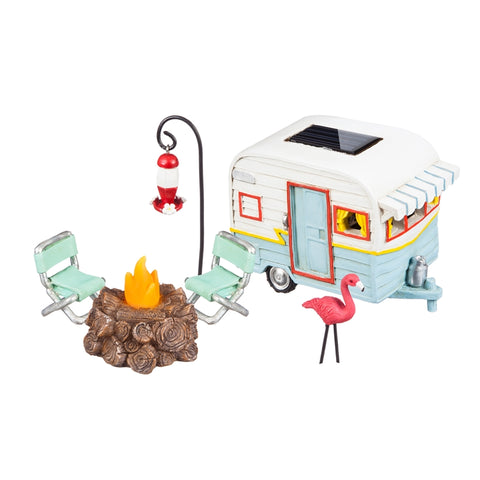 Glamping Flamingo fairy garden, Set of 5