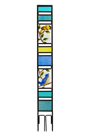 Spring Birds Glass Panel Stake