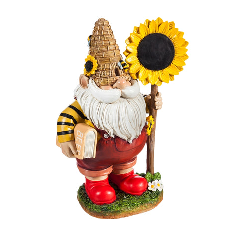 "Honey Gnome with Sunflower Sign 11"" tall"