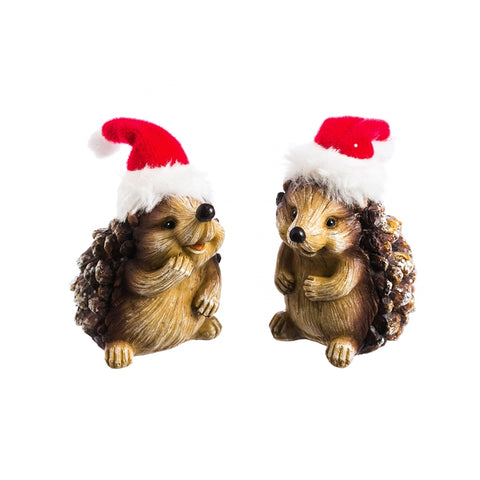 Hedgehog with Santa Hat Miniature Decor