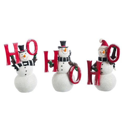 Ho Ho Ho Snowman Statuary, set of 3