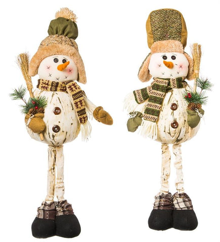 Woodland Snowman Plush Standing Decor, 2 Assorted CLEARANCE