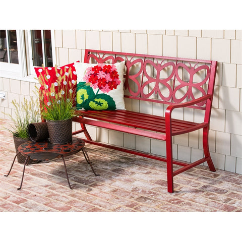 Red Metal Butterfly Bench - Cast a Stone