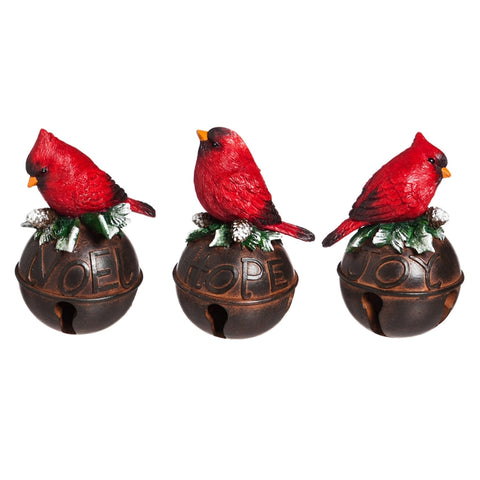 Cardinals on Bell Polystone Figurines, Set of 3