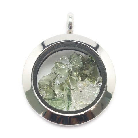 Moldavite and Herkimer Diamond Floating Locket Pendant