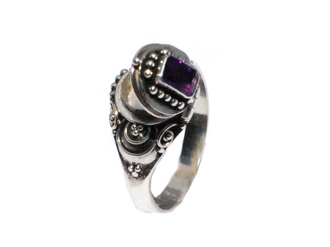 Sterling Silver Poison Ring with Emerald Cut Amethyst stone