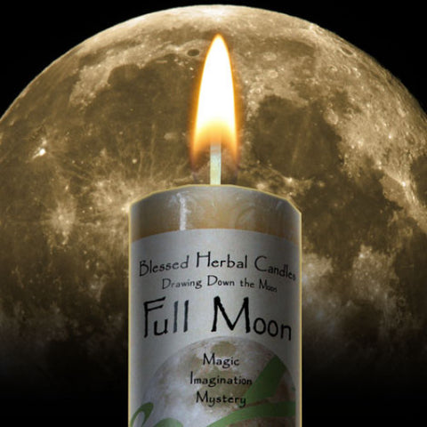 Full Moon Drawing Down the Moon Pillar Candle