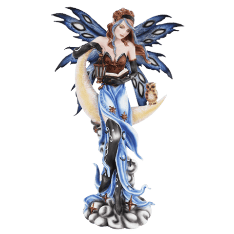 Crescent Moon Fairy and Owl Statue - 16.5""