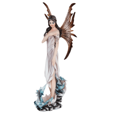Fairy with Blue Dragonlings Statue